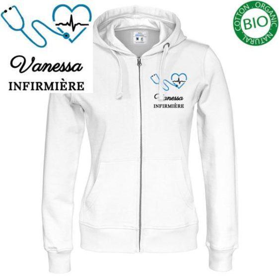 Sweat / Gilet pour infirmières et aide soignantes couleur blanche