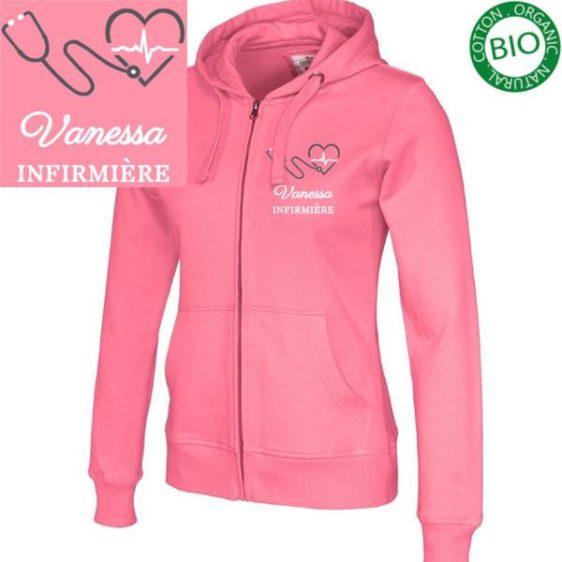 Sweat / Gilet pour infirmières et aide soignantes couleur rose