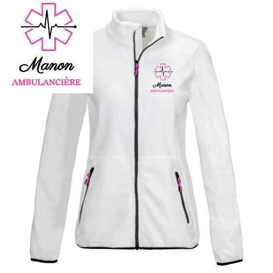Veste polaire ambulancière blanche rose