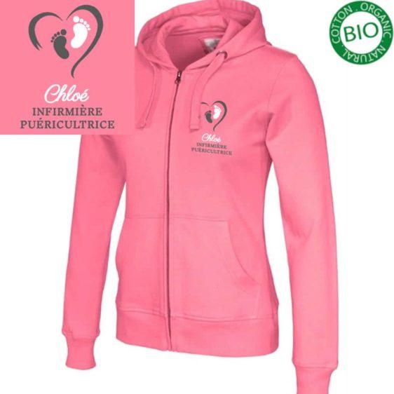 Veste à capuche rose Puériculture