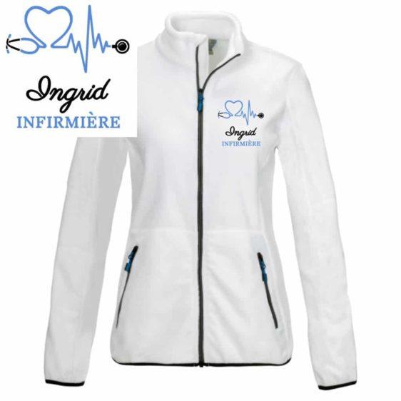 veste polaire infirmière blanche motif bleu