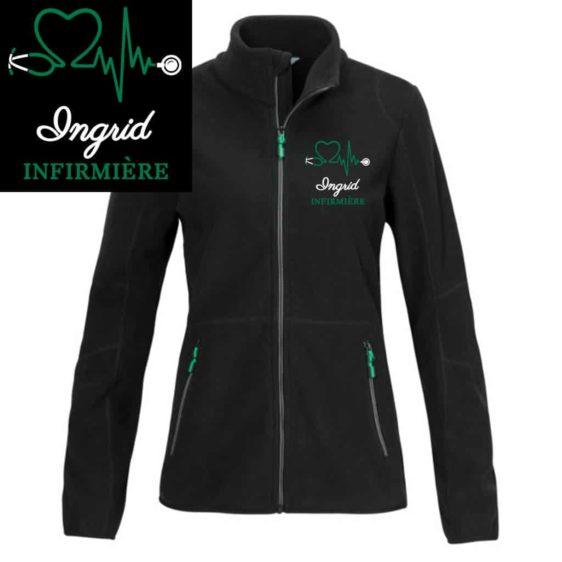 veste polaire infirmière noire motif vert