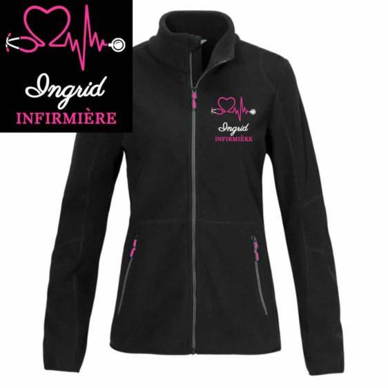 veste polaire infirmière noire motif rose