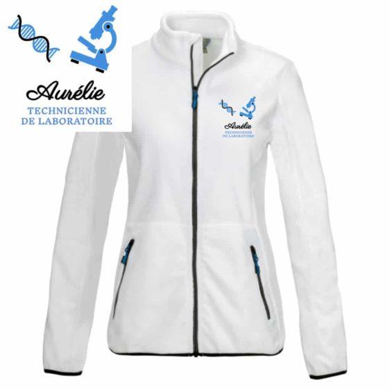 veste polaire laboratoire blanche motif bleu